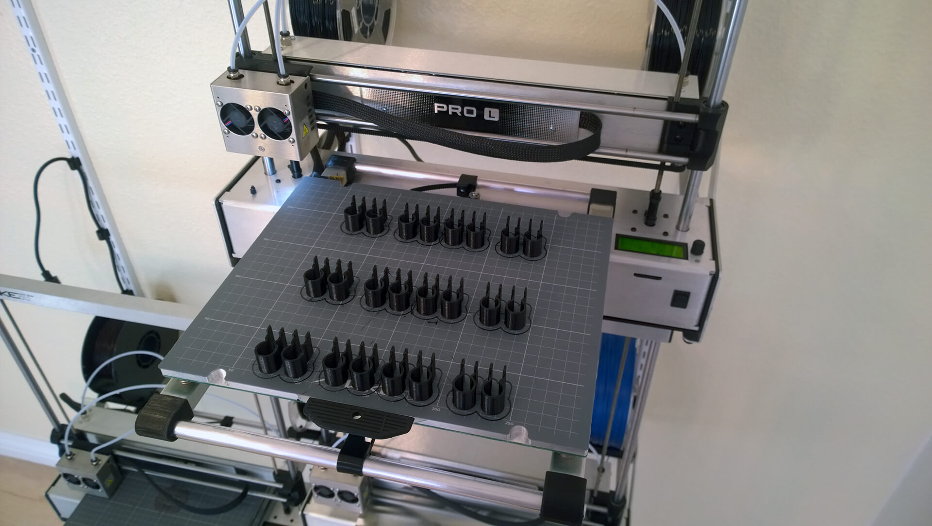 24 3D printed parts together on one bed